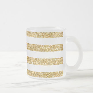 Elegant Faux Gold Glitter and White Stripe Pattern Frosted Glass Coffee Mug
