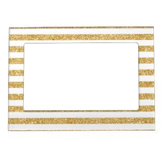 Elegant Faux Gold Glitter and White Stripe Pattern Magnetic Frame