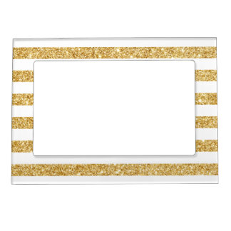 Elegant Faux Gold Glitter and White Stripe Pattern Magnetic Picture Frame