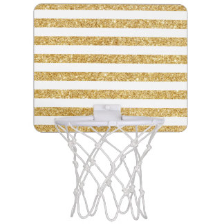 Elegant Faux Gold Glitter and White Stripe Pattern Mini Basketball Hoop