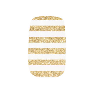 Elegant Faux Gold Glitter and White Stripe Pattern Minx Nail Art