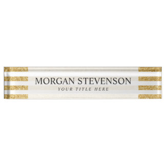 Elegant Faux Gold Glitter and White Stripe Pattern Name Plate