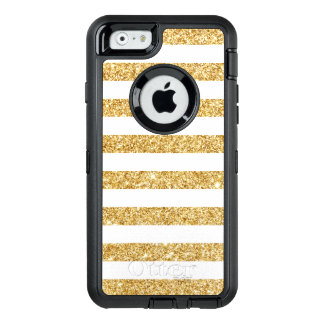 Elegant Faux Gold Glitter and White Stripe Pattern OtterBox Defender iPhone Case