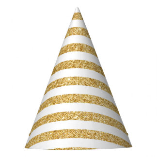 Elegant Faux Gold Glitter and White Stripe Pattern Party Hat