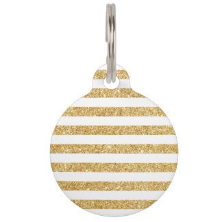 Elegant Faux Gold Glitter and White Stripe Pattern Pet ID Tag