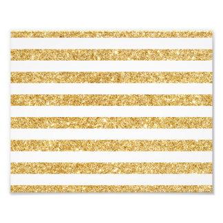 Elegant Faux Gold Glitter and White Stripe Pattern Photo Print