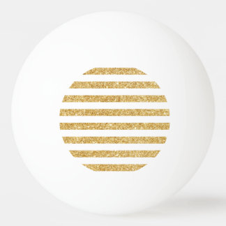 Elegant Faux Gold Glitter and White Stripe Pattern Ping Pong Ball
