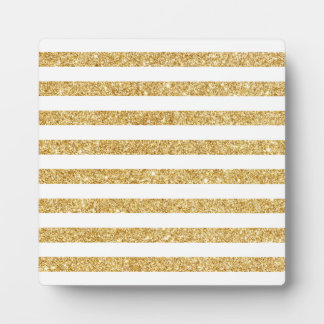 Elegant Faux Gold Glitter and White Stripe Pattern Plaque
