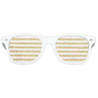Elegant Faux Gold Glitter and White Stripe Pattern Retro Sunglasses