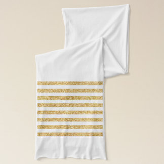 Elegant Faux Gold Glitter and White Stripe Pattern Scarf