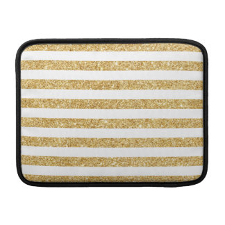 Elegant Faux Gold Glitter and White Stripe Pattern Sleeve For MacBook Air