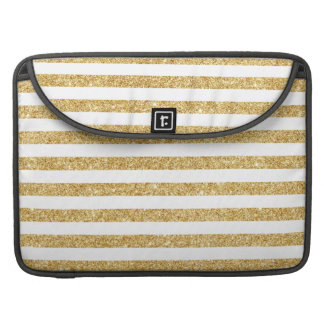 Elegant Faux Gold Glitter and White Stripe Pattern Sleeve For MacBook Pro