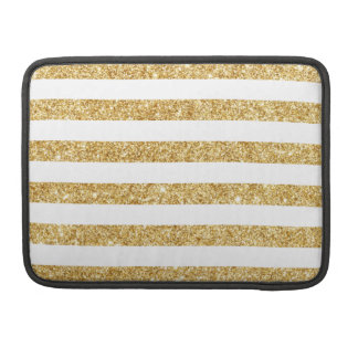 Elegant Faux Gold Glitter and White Stripe Pattern Sleeve For MacBooks
