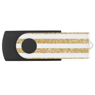 Elegant Faux Gold Glitter and White Stripe Pattern Swivel USB 2.0 Flash Drive