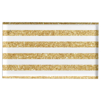 Elegant Faux Gold Glitter and White Stripe Pattern Table Card Holders