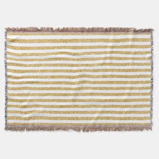 Elegant Faux Gold Glitter and White Stripe Pattern Throw Blanket