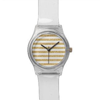 Elegant Faux Gold Glitter and White Stripe Pattern Watch