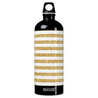 Elegant Faux Gold Glitter and White Stripe Pattern Water Bottle
