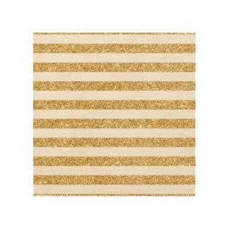 Elegant Faux Gold Glitter and White Stripe Pattern Wood Print