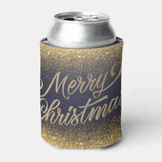 Elegant Faux Gold Glitter Christmas | Can Cooler
