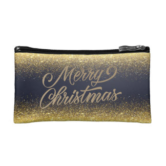 Elegant Faux Gold Glitter Christmas | Cosmetic Bag