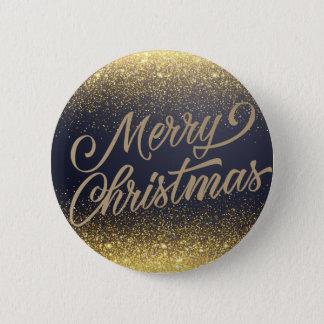 Elegant Faux Gold Glitter Christmas | Pin Button