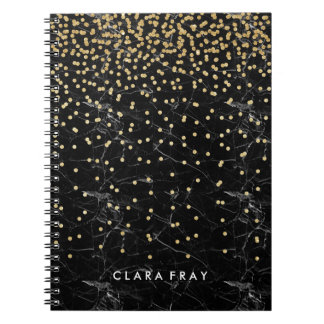 elegant faux gold glitter confetti black marble notebook