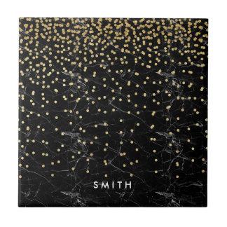elegant faux gold glitter confetti black marble small square tile