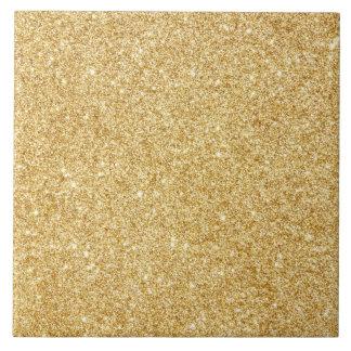 Elegant Faux Gold Glitter Large Square Tile