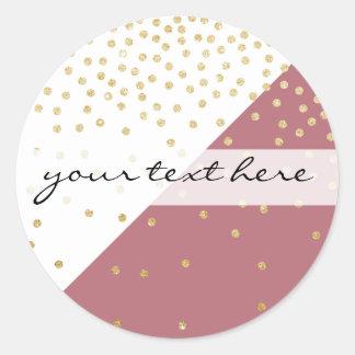 elegant faux gold glitter polka dots dusty pink classic round sticker