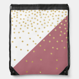 elegant faux gold glitter polka dots dusty pink drawstring bag