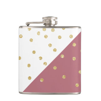 elegant faux gold glitter polka dots dusty pink hip flask