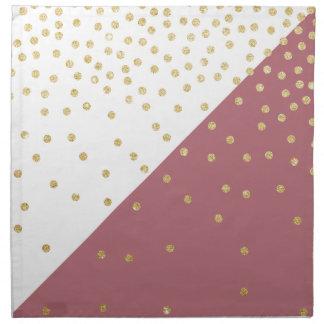 elegant faux gold glitter polka dots dusty pink napkin