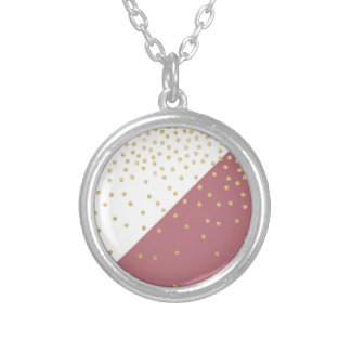 elegant faux gold glitter polka dots dusty pink silver plated necklace