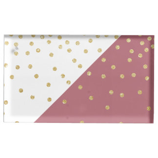 elegant faux gold glitter polka dots dusty pink table card holder