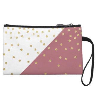 elegant faux gold glitter polka dots dusty pink wristlet