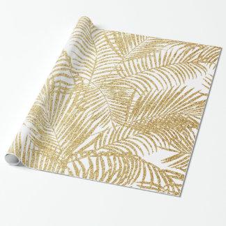 Elegant faux gold glitter tropical plants pattern