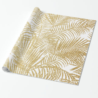 Elegant faux gold glitter tropical plants pattern wrapping paper