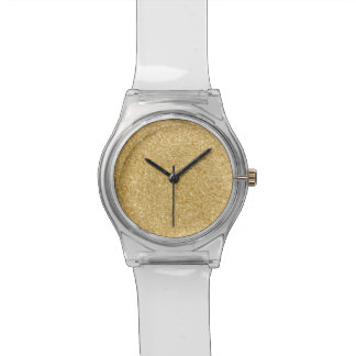 Elegant Faux Gold Glitter Wristwatches