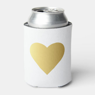 Elegant Faux Gold Heart Can Cooler