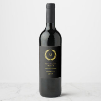Elegant Faux Gold Laurel Wreath on Black | Wedding Wine Label