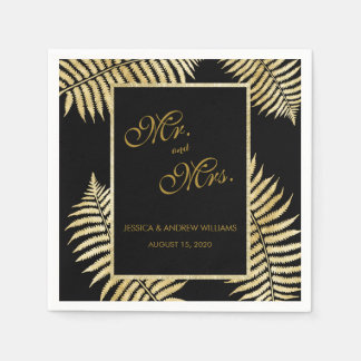 Elegant Faux Gold Leaf Bracken Wedding Disposable Serviette