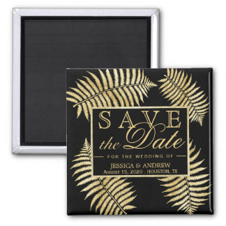 Elegant Faux Gold Leaf Bracken Wedding Magnet