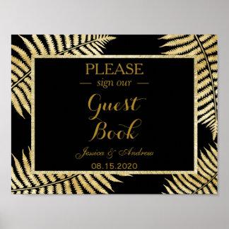 Elegant Faux Gold Leaf Bracken Wedding Poster
