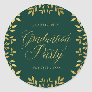 Elegant Faux Gold Leaves Green Graduation Party Classic Round Sticker