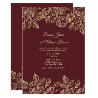 Elegant faux gold marsala red floral Wedding Card