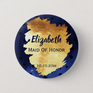 Elegant Faux Gold Metal Wedding Party Name Tag 6 Cm Round Badge