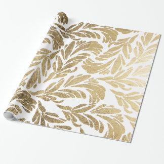 Elegant faux gold modern floral damask pattern wrapping paper