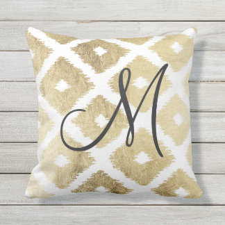 Elegant faux gold modern ikat pattern monogrammed outdoor cushion