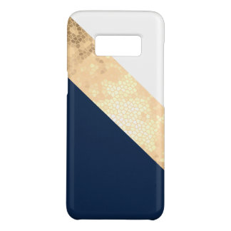 elegant faux gold, navy blue, white stripes Case-Mate samsung galaxy s8 case